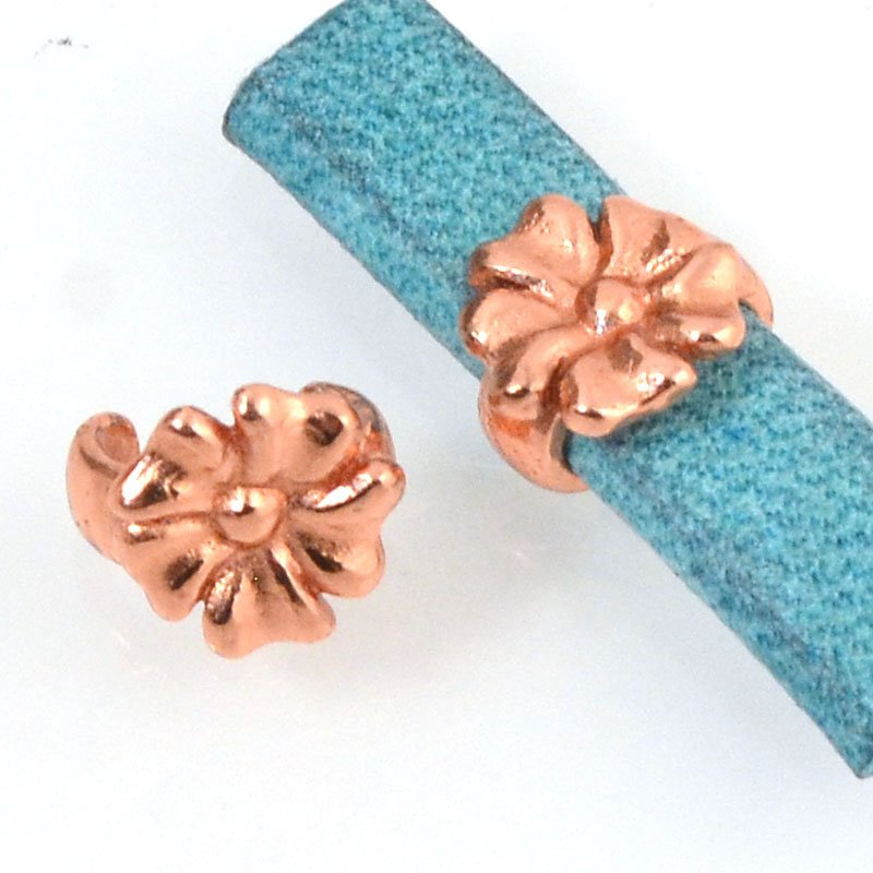 Beads - 5 mm Flat Leather - Open Flower Stud - Bright Copper (5)
