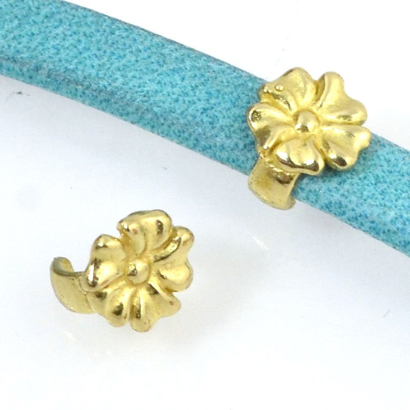 Beads - 5 mm Flat Leather - Open Flower Stud - Bright Brass (5)