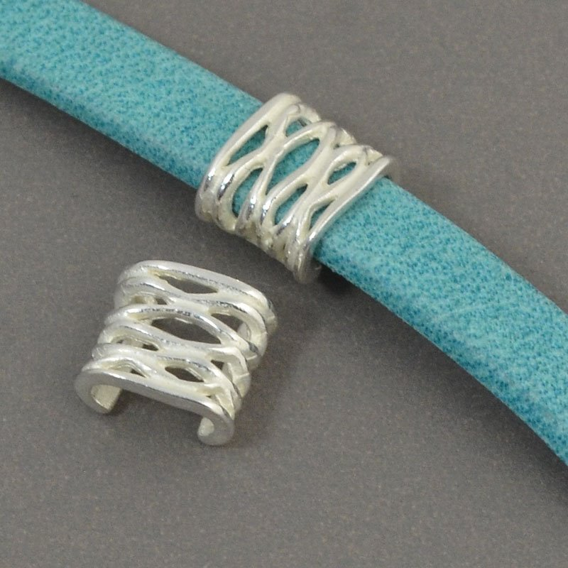 Beads - 5 mm Flat Leather - Open Weave - Bright Silver (5)