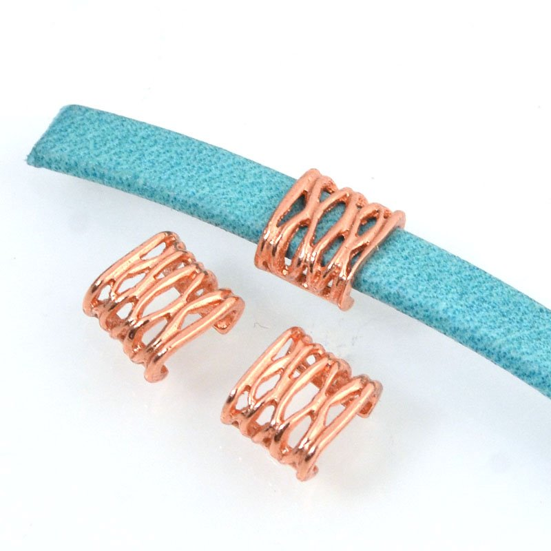 Beads - 5 mm Flat Leather - Open Weave - Bright Copper (5)