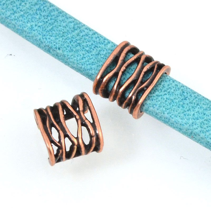 Beads - 5 mm Flat Leather - Open Weave - Antiqued Copper (5)