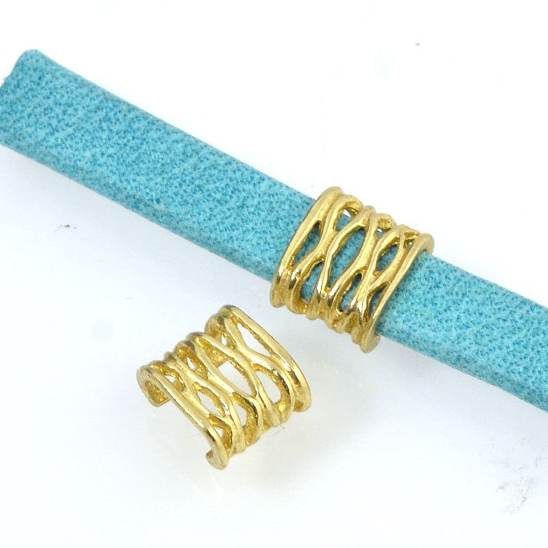 Beads - 5 mm Flat Leather - Open Weave - Bright Brass (5)