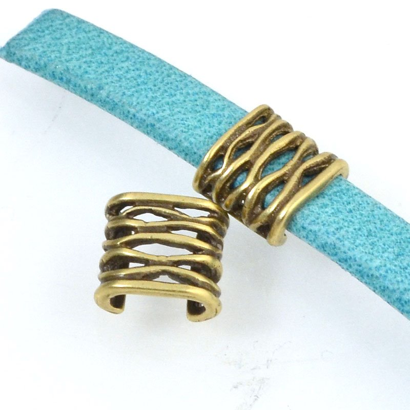 Beads - 5 mm Flat Leather - Open Weave - Antiqued Brass (5)