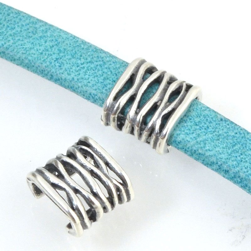 Beads - 5 mm Flat Leather - Open Weave - Antiqued Silver (5)