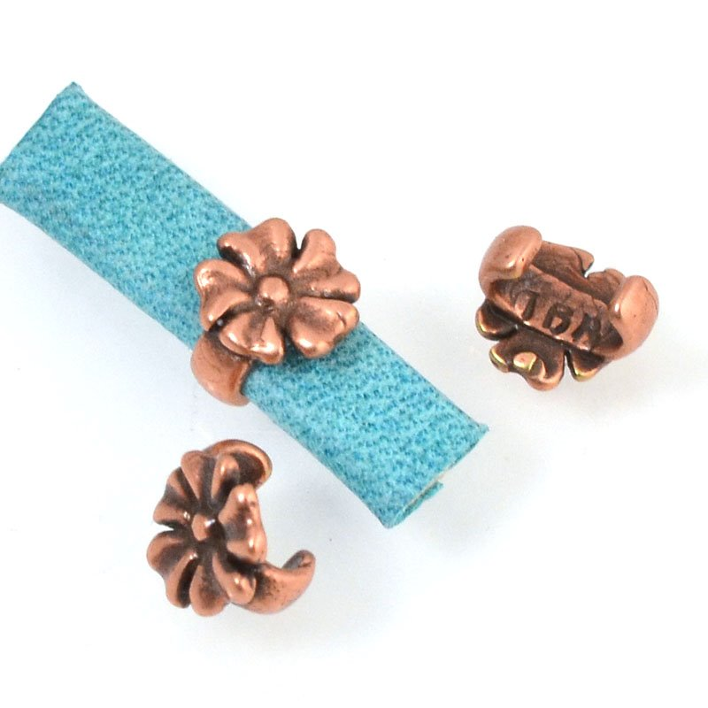 Beads - 5 mm Flat Leather - Open Flower Stud - Antiqued Copper (5)