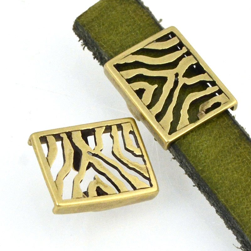 Beads - 10 mm Flat Leather - Zebra Stripes - Antiqued Brass