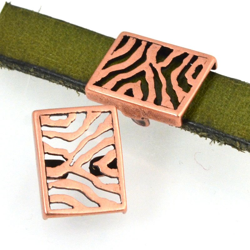 Beads - 10 mm Flat Leather - Zebra Stripes - Antiqued Copper