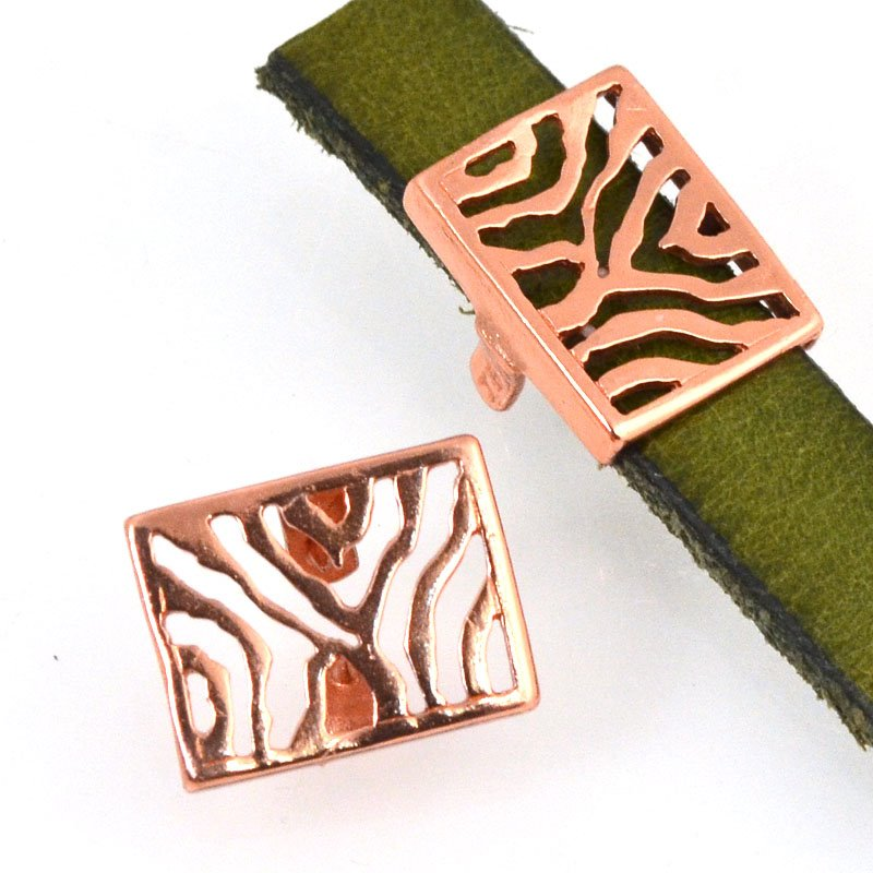 Beads - 10 mm Flat Leather - Zebra Stripes - Bright Copper
