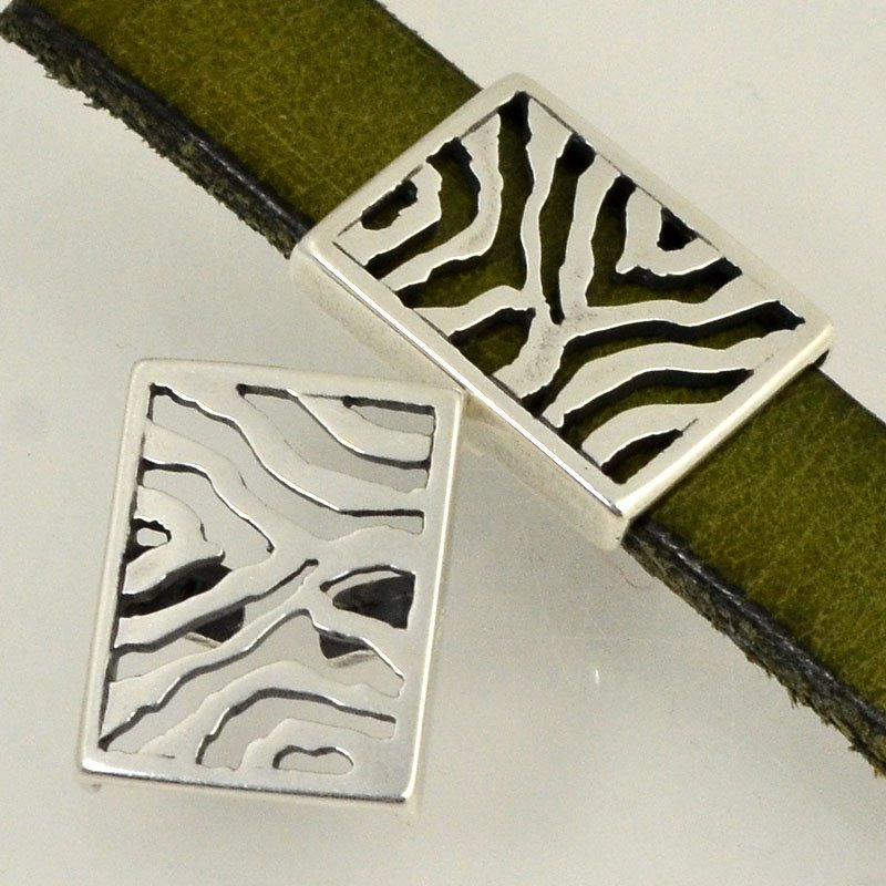 Beads - 10 mm Flat Leather - Zebra Stripes - Antiqued Silver