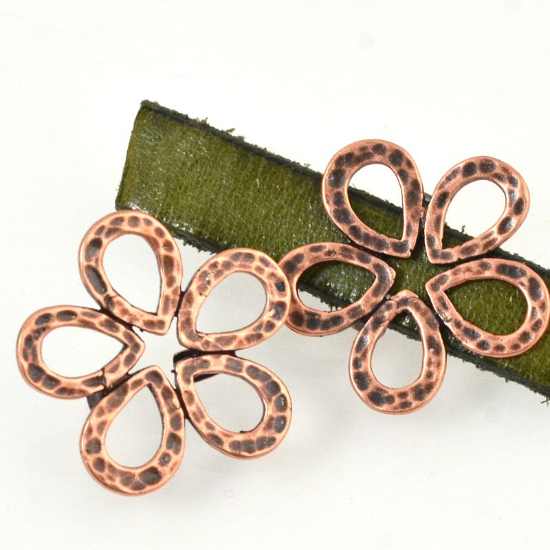 Beads - 10 mm Flat Leather - Hammered Flower - Antiqued Copper