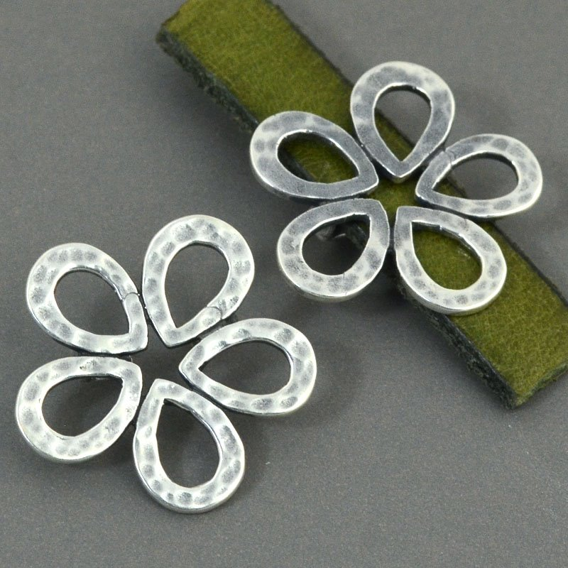 Beads - 10 mm Flat Leather - Hammered Flower - Antiqued Silver