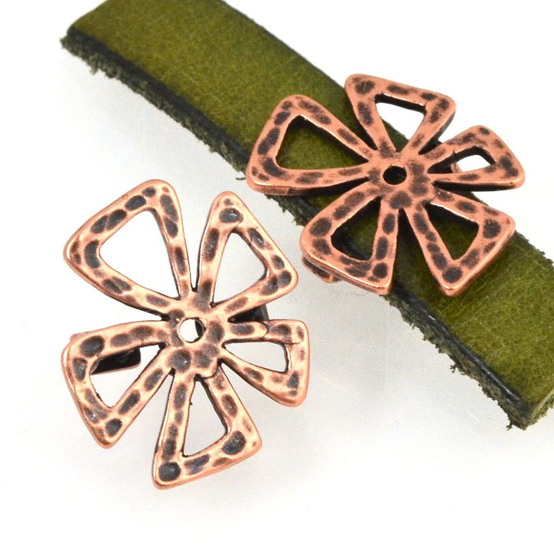 Beads - 10 mm Flat Leather - Hammered Crazy Flower - Antiqued Copper