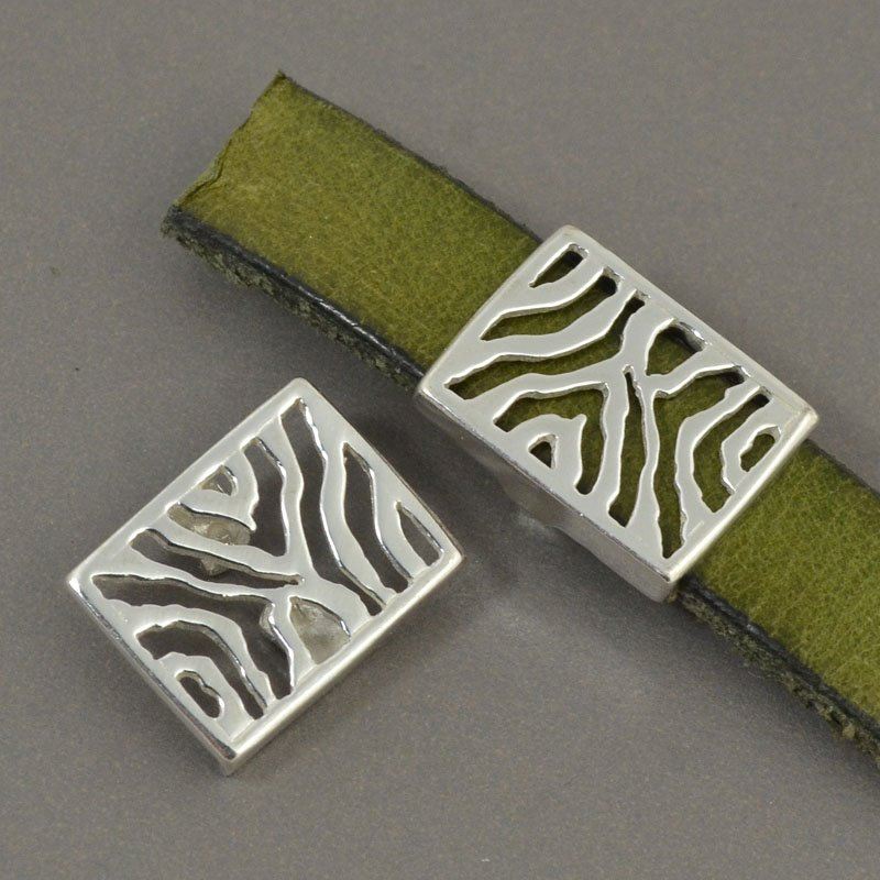 Beads - 10 mm Flat Leather - Zebra Stripes - Sterling Silver