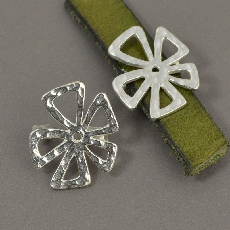 Beads - 10 mm Flat Leather - Hammered Crazy Flower - Sterling Silver