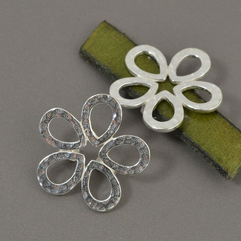 Beads - 10 mm Flat Leather - Hammered Flower - Sterling Silver