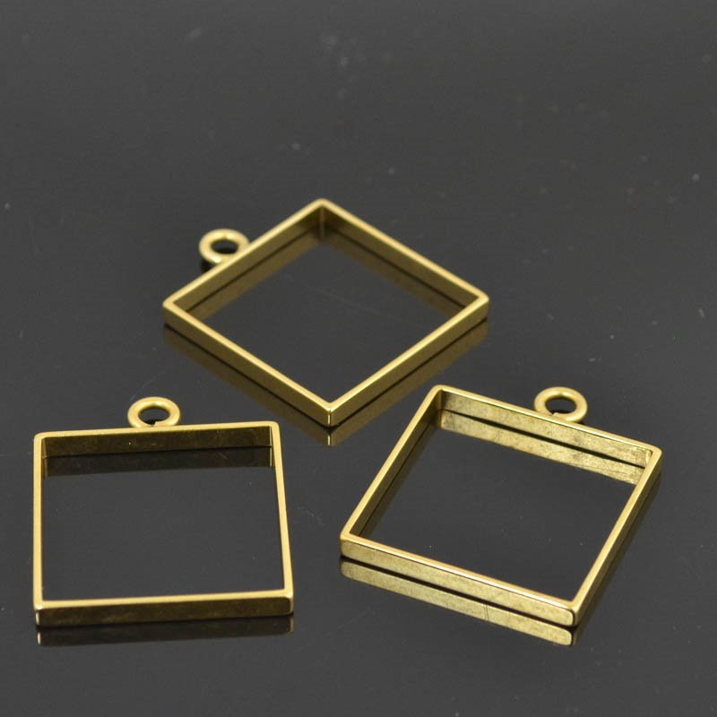 Open Bezel / Frame - Large Square - Antique Gold