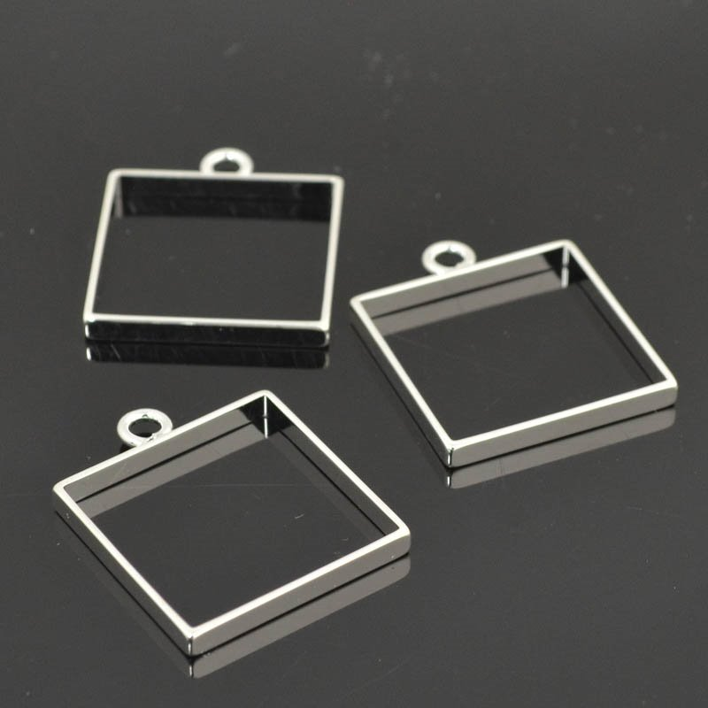 Open Bezel / Frame - Large Square - Sterling Silver Plated