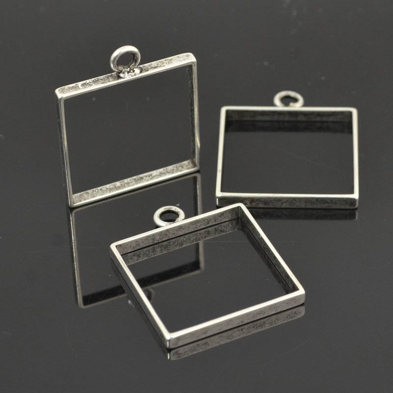 Open Bezel / Frame - Large Square - Antiqued Silver