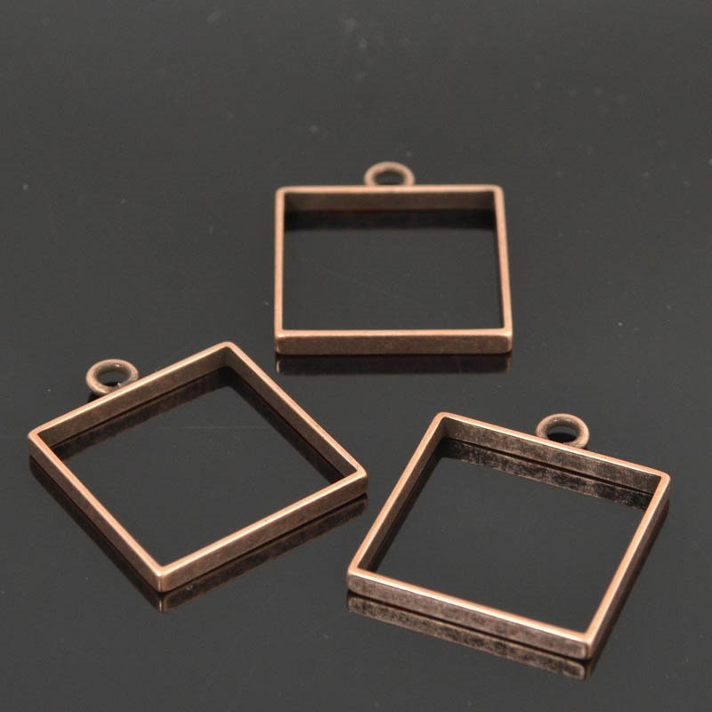Open Bezel / Frame - Large Square - Antiqued Copper