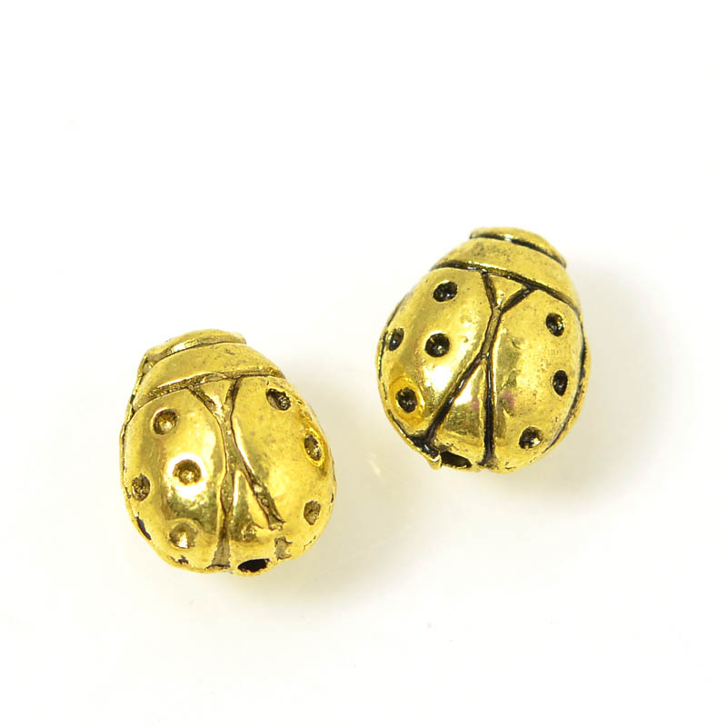 Metal Bead - Lady Bug - Antique Gold