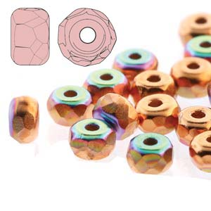 Czech Firepolish Glass - 2 x 3 mm Faceted Micro Spacer Rondelle - Copper Plated AB