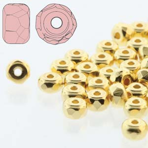 Czech Firepolish Glass - 2 x 3 mm Faceted Micro Spacer Rondelle - 24 Kt Gold Plated