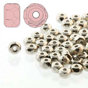 Czech Firepolish Glass - 2 x 3 mm Faceted Micro Spacer Rondelle - Nickel Plated