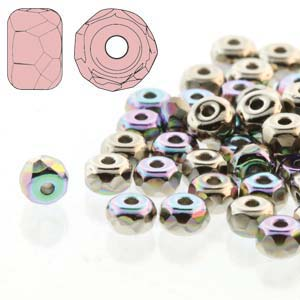 Czech Firepolish Glass - 2 x 3 mm Faceted Micro Spacer Rondelle - Nickel Plated AB