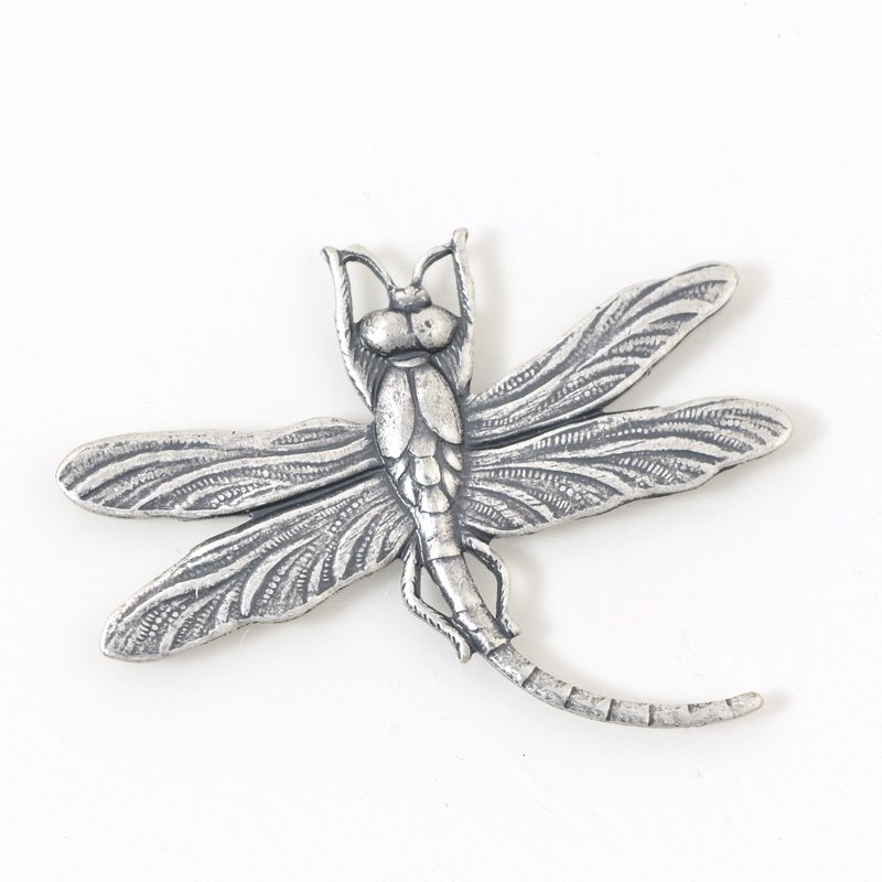 Metal Pendant - 46 mm Dragonfly - Antiqued Silver