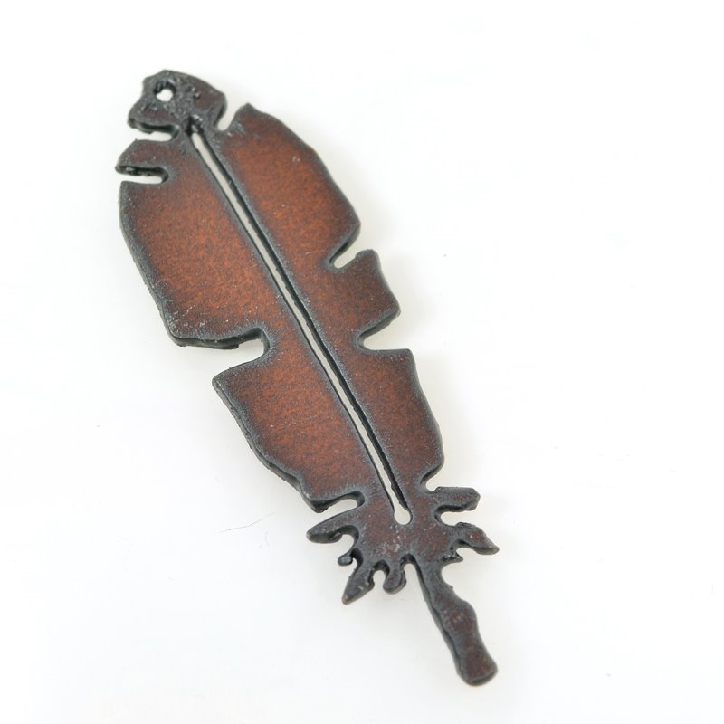 Metal Pendant - Feather - Rusted Iron