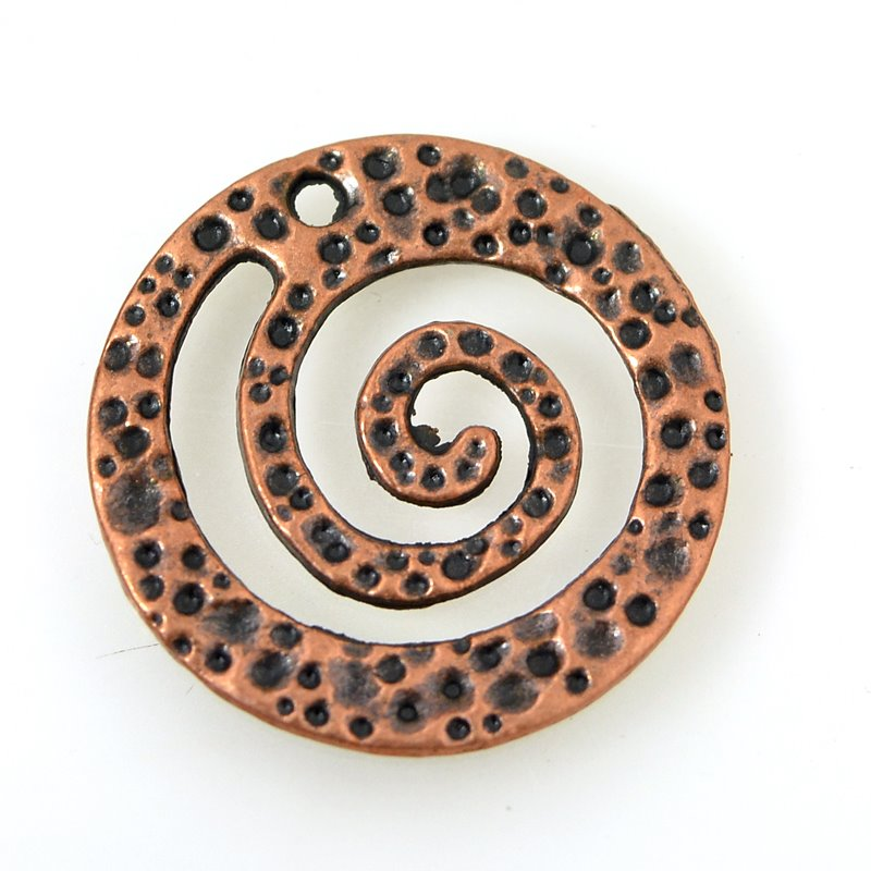 Metal Charm/Pendant - Funky Spiral Swirl - Antiqued Copper