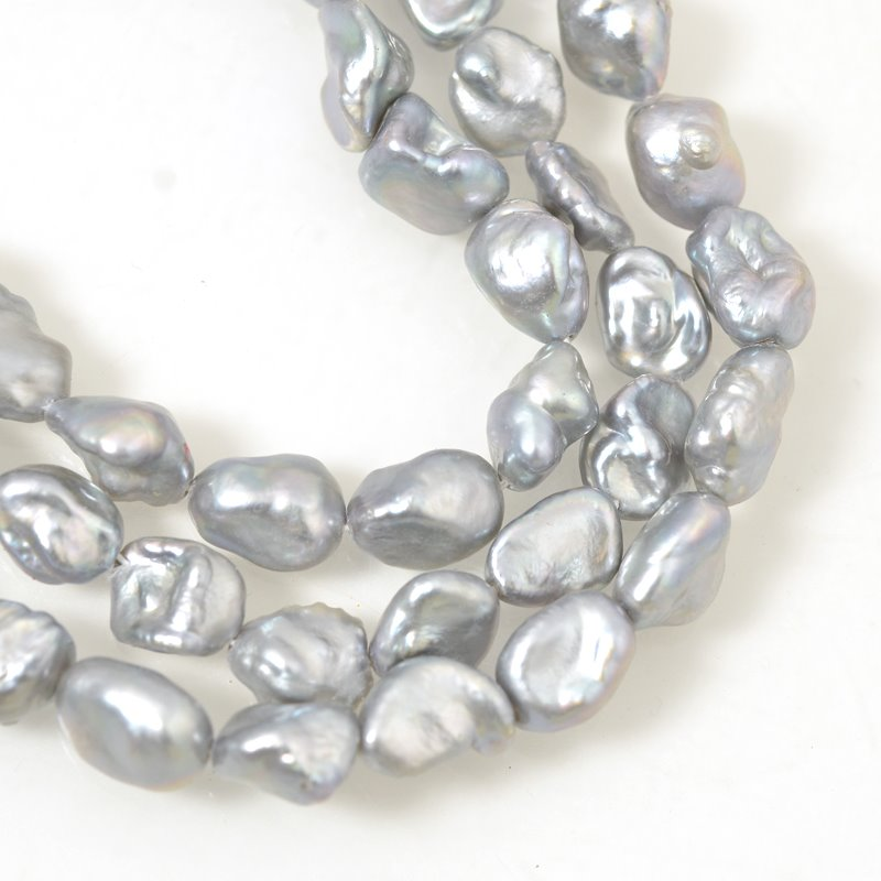 Freshwater Pearls - 9 x 11 mm Baroque Pearl Nuggets - Silver Pearl (strand)