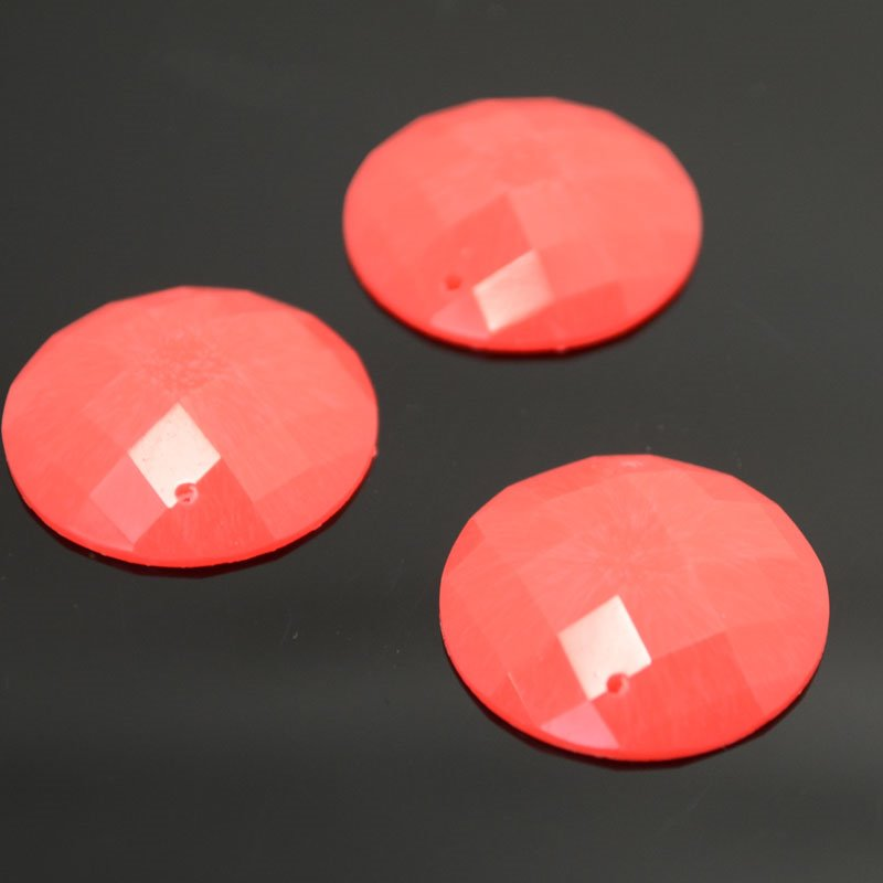 10608891-02 Resin - Fashion Cabochon - 22 mm Faceted Round - Neon Orange
