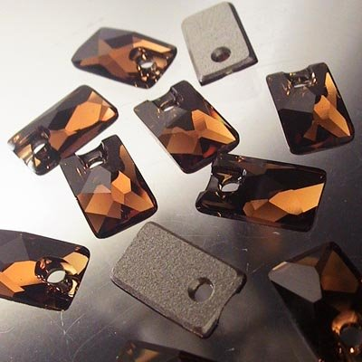 "10735001010220 Swarovski - Sew-on Stone/Pendular - 9 x 5.5 mm Lochrose (3500) - Smokey Topaz <font color=""#FF0000"">Managers LAST CALL </font> 80% off!"