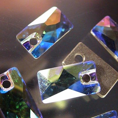 "10735001045001 Swarovski - Sew-on Stone/Pendular - 12.5 x 7 mm Lochrose (3500) - Crystal AB <font color=""#FF0000"">Managers LAST CALL </font> 80% off!"