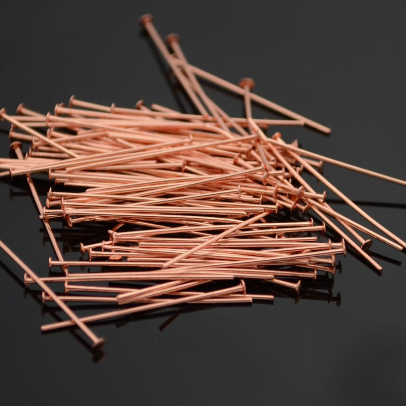 22601044 Findings - Headpins - 1 inch 22 gauge - Bright Copper (100)