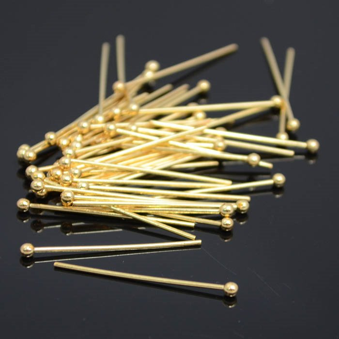 22601340 Findings - Headpins - 1 inch Big Ball Headpin - Goldplated (50)