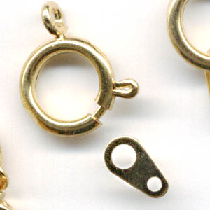 23410678 Findings - Clasps -  Spring Ring w Tab - Goldtone (1)