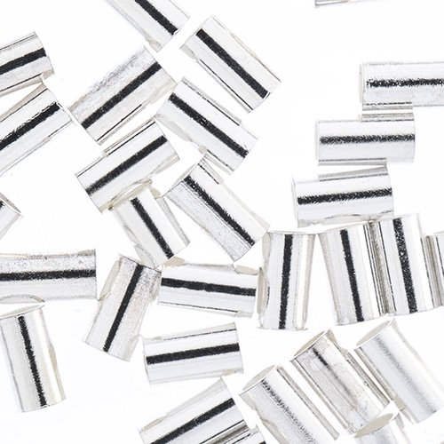 24000955-00 Findings - Crimps - 1mm Crimp Tubes for Stretch Cord - Bright Silver (Pack)