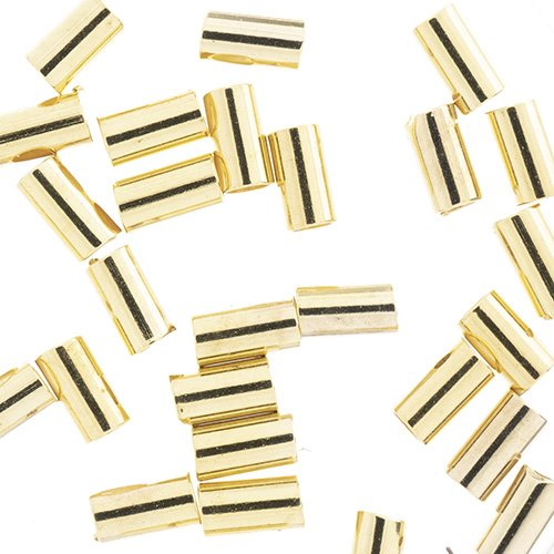 24000955-01 Findings - Crimps - 1mm Crimp Tubes for Stretch Cord - Bright Gold Plated (Pack)