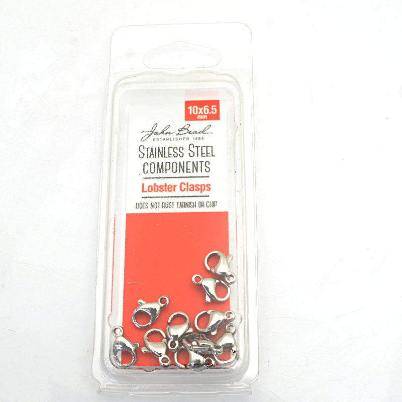 26001400-00 Findings - 10x6.5mm Lobster Clasp - Stainless Steel (10)