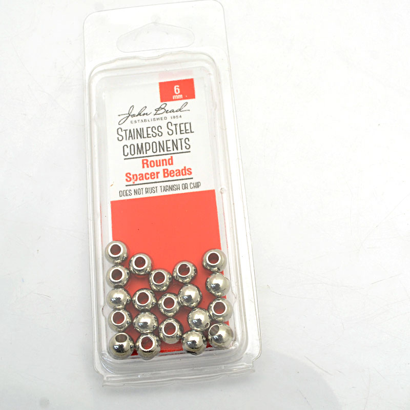 26001400-27 Findings - 6mm Spacer Bead Round - Stainless Steel (20)