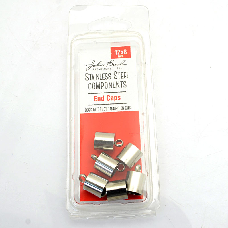 26001400-35 Findings - 12x8mm End Cap - Stainless Steel (6)
