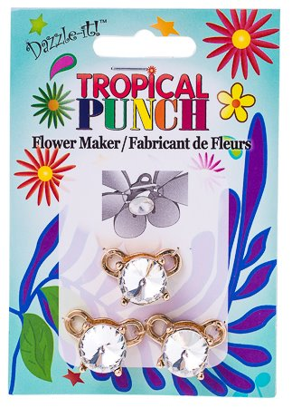 """26011512 Finding - Tropical Punch Flower Maker - Goldplated / Crystal (Pack 3) <font color=""""#FF0000"""">Managers LAST CALL </font> 80% off!"""