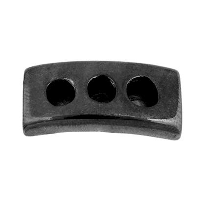 26037017-02 Beads - 10 mm Flat Leather - 28 mm Stoplight - Gunmetal