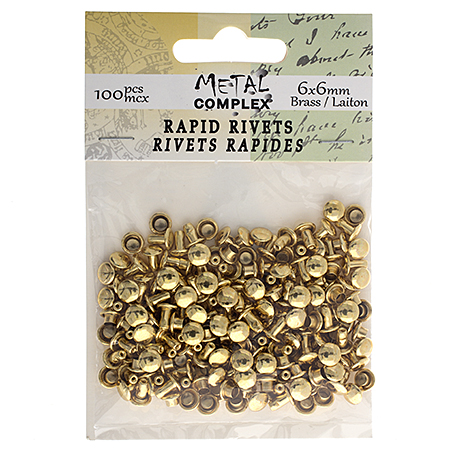 26037265-01 Leather Riveting Supplies - 6x6 mm Rapid Rivet Round Cap - Gold Plated (over Brass) (100 pcs)