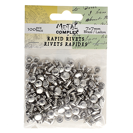 26037266-00 Leather Riveting Supplies - 7x7 mm Rapid Rivet Round Cap - Silver (Brass Base) (100 pcs)