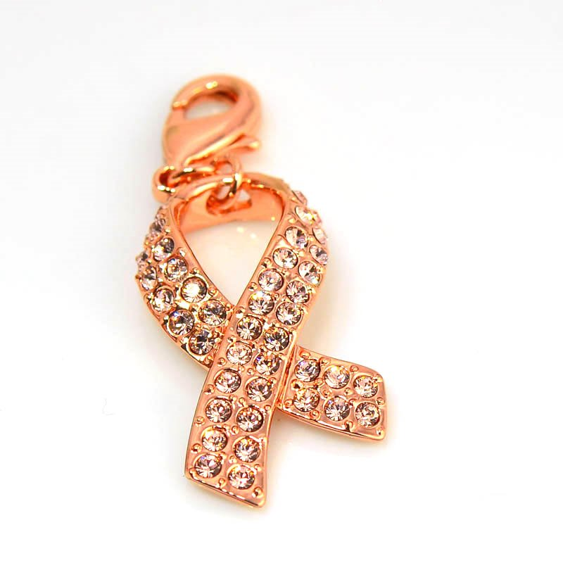 267000rg316 Metal Charm/Pendant -  Cancer Awareness Ribbon - Vintage Rose/Rose Gold (1)