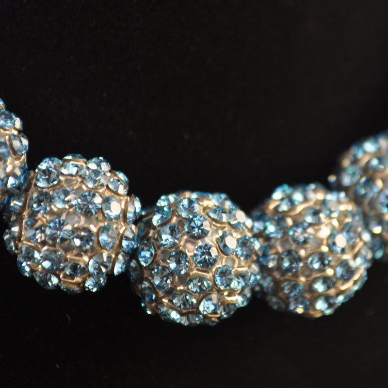 26740515B0202 Rhinestone Bead - 15 mm Crystal Mesh Ball Bead - Aquamarine (1)