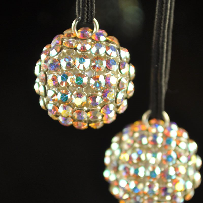 26740519P1001 Rhinestone Bead - 19 mm Crystal Mesh Ball Pendant - Crystal AB (1)